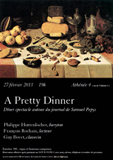 A Pretty Dinner, dîner-spectacle autour du journal de Samuel Pepys